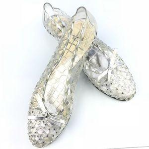 ce4f32731324 Stuart Weitzman. Stuart weitzman jelly clear flats shoes Sz 9.  65  150